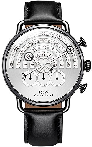 tz Chronograph Sport Watches for Men Leather Band (White) ()