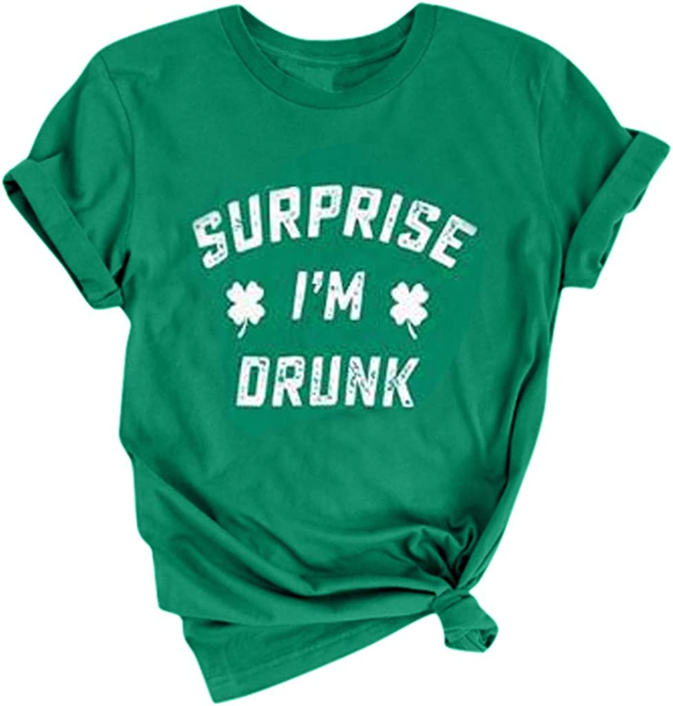 HebeTop Women I'm NOT Lucky.I'm Blessed Letter Printed T Shirt St. Patrick's Day Short Sleeve T-Shirt Tops 51lUEWEHIlL