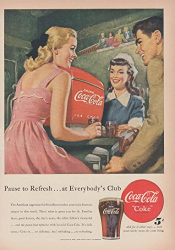Pause to Refresh at Everybody's Club Coca-Cola soda fountain ad 1948 T