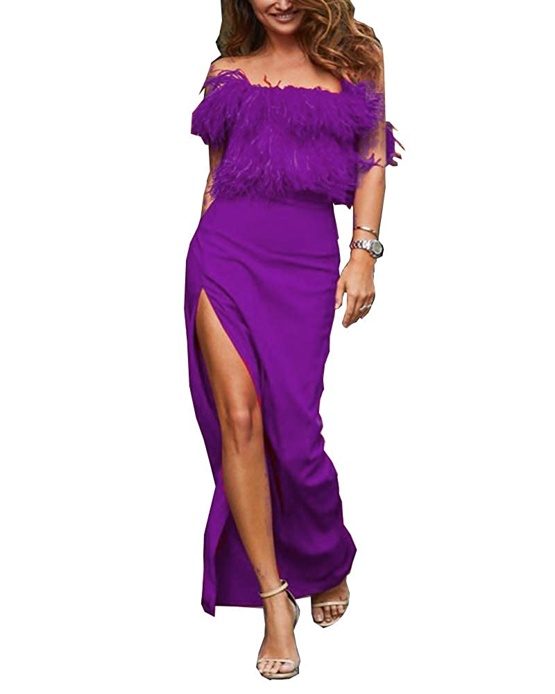 Grape MariRobe Women's High Split Evening Dresses Sleeveless Feather Formal Party Dress Prom Dress Cocktail Gown