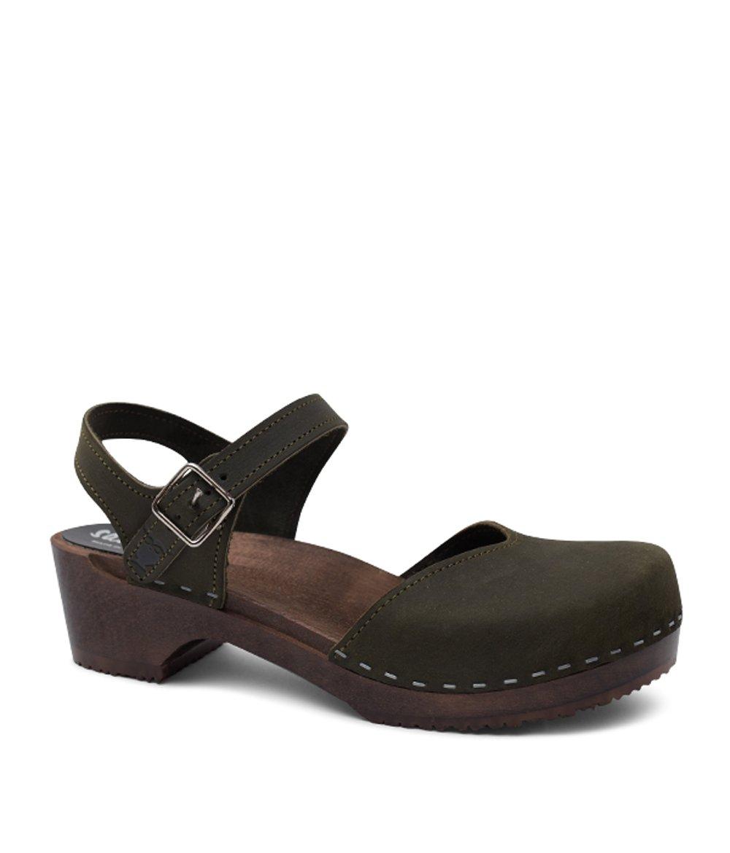 Sandgrens Swedish Wooden Low Heel Clog Sandals For Women | Saragasso In Olive US 8 EU 38 by Sandgrens