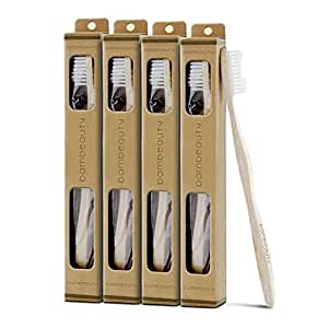 Natural Bamboo Toothbrush By Bambeauty (4 Pack) White, BPA-Free Soft Nylon Bristles. Biodegradable Packaging & Tooth Brush Handle. Premium Wood Toothbrushes. Keep Unnecessary Plastics & Rubbers Out Of Your Mouth & Away From Your Teeth.