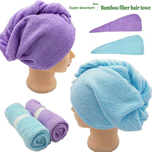 Hair Towel Wrap Long Hair Towels Turban Twisty Towel Bamboo Fiber Antibacterial Super Absorbent For women (Purple+Blue) by Lxinrong (Image #1)