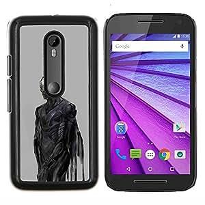 Planetar® ( Diablo Demonio Gris Metal ) Motorola MOTO G3 / Moto G (3nd Generation) Fundas Cover Cubre Hard Case Cover