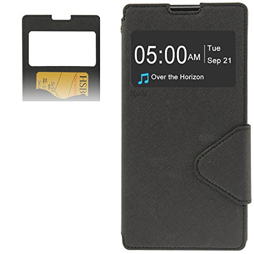 DIYLooks Litchi Texture Horizontal Flip Magnetic Buckle Leather Case with Call Display ID & Card Slots & Holder for Sony Xperia T2 Ultra / XM50 (Black)