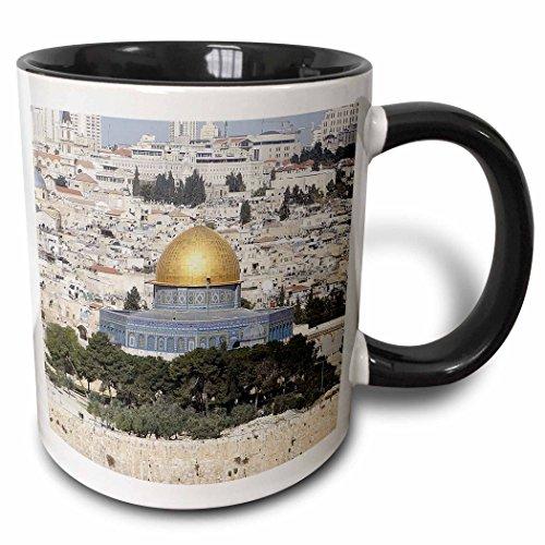 3D Rose 214679_4 Jerusalem Holy Temple Two Tone Ceramic Mug, 11 oz, Black