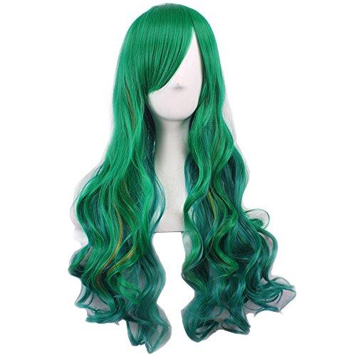 [Girls Fashion Loose Wave Long Hair Women Harajuku Cosplay Wig Dark Green] (Banshee Costumes)