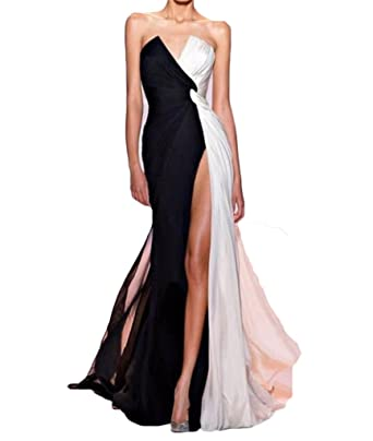 Dydsz Womens V Neck Side Slit Long Evening Prom Dresses Plus Size Sexy 2017 D92 Black