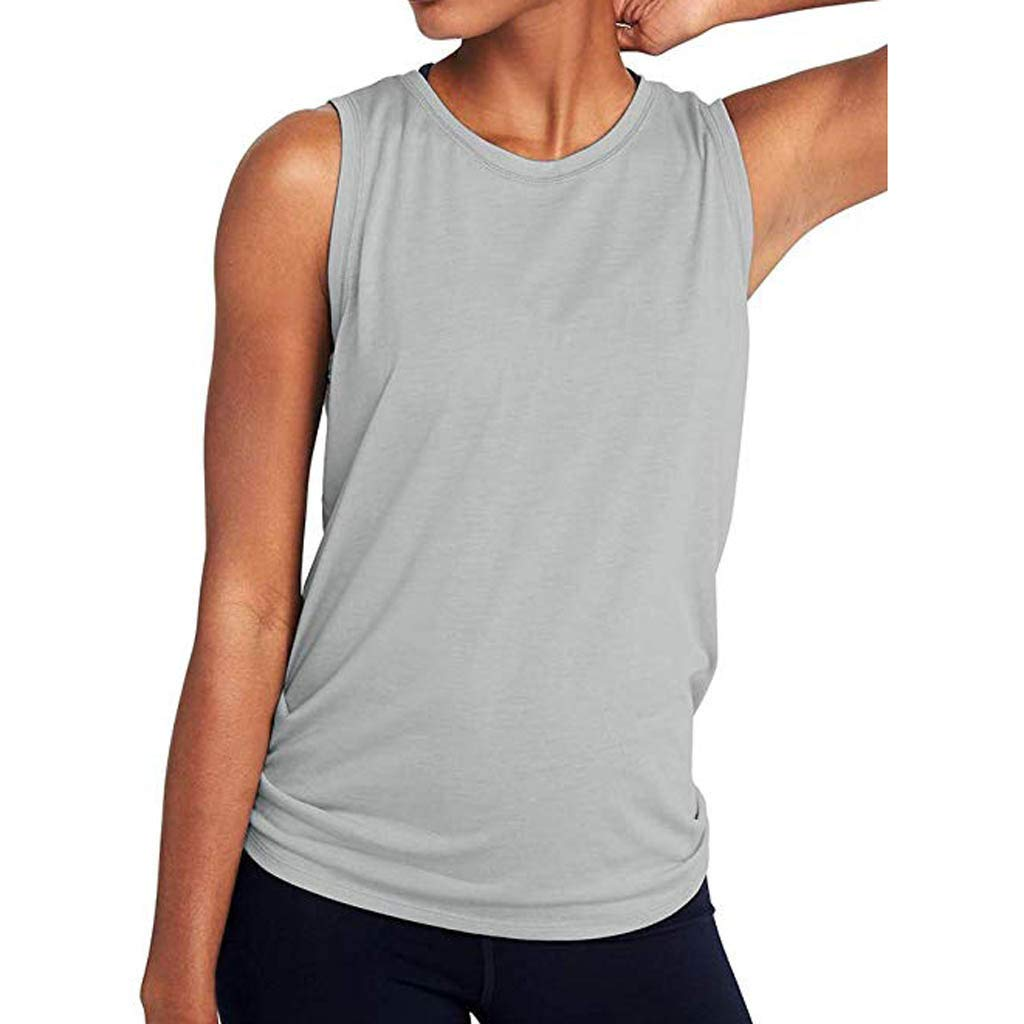 Lmx+3f Women Cute Yoga Sports Tank Tops Workout Mesh Shirts Activewear Sexy Open Back Solid Color Soft Comfy Top Gray