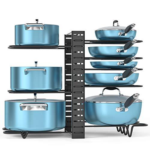 ORDORA Pot and Pan Organizer for Cabinet, 8 Tier Pot Rack with 3 DIY Methods, Adjustable Pot & Pan Holder Under Cabinet…