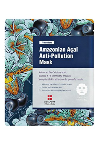 Price comparison product image [Leaders Insolution] 7 Wonders Amazonian Acai Anti Pollution Coconut Gel Bio-Cellulose Mask 10Pk (with glycerin, coconut extract, red root extract, sugar maple extract, acai palm extract)