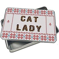 NEONBLOND Cookie Tin Box Cat Lady Cheetah Cat Animal Print Vintage Christmas Pattern