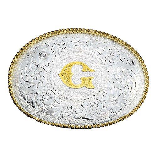 (Montana Silversmiths Silver Initial G Engraved Western Belt Buckle, 3.5