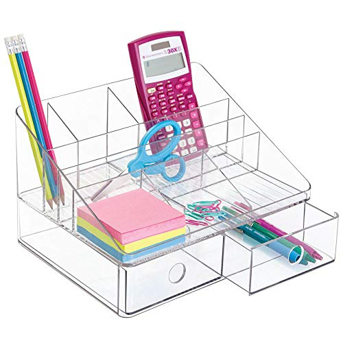Desktop Organizer University - iDesign Linus Plastic Tiered Divided Desk Organizer with Drawers for Storage of Office and School Supplies, Makeup, Accessories on Vanity, Countertop, or Cabinet, 7.5