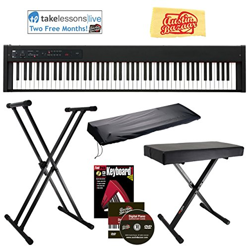Korg D1 Digital Piano Bundle with Adjustable Bench, Stand, Dust Cover, Instructional Book, Online Lessons, Austin Bazaar Instructional DVD, and Polishing Cloth (Synth Dust Cover)