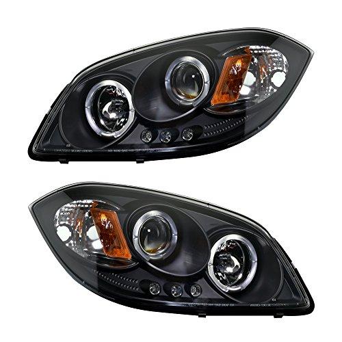 MAPM Set of 2 Halo Projector LED Headlights Black Halogen Bulb for Chevy Cobalt 2005-2010 Pontiac G5 2007-2009 Pursuit 2005-2006 (2008 Black Projector Headlights)