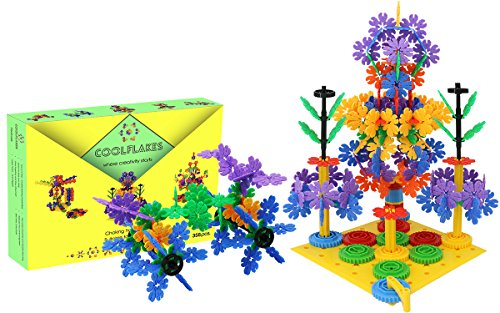 CoolFlakes Creative and Educational Interlocking Flakes With Included Building Base and Gears (Deluxe Box – 358 pieces)
