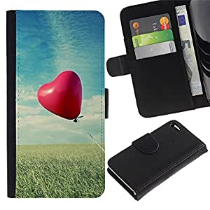 Paccase / Billetera de Cuero Caso del tirón Titular de la tarjeta Carcasa Funda para - Love Balloon Love - Apple Iphone 4 / 4S