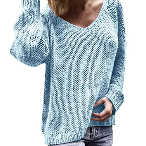 Women's Sexy Sweater,Sunyastor Deep V-Neck Long Sleeve Loose Knit Pullover Oversize Sweaters Solid Casual Tunics Jumpers ()