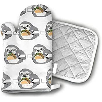 UYRHFS Sloth Tacos Oven Mitts and Pot Holder Kitchen Set with, Heat Resistant, Oven Gloves and Pot Holders 2pcs Set for BBQ Cooking Baking