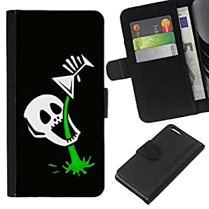 Planetar® Colorful Pattern Flip Wallet Leather Holster Protective Skin Case Cover For Apple iPhone 5C ( Funny Skull Skeleton Martini )