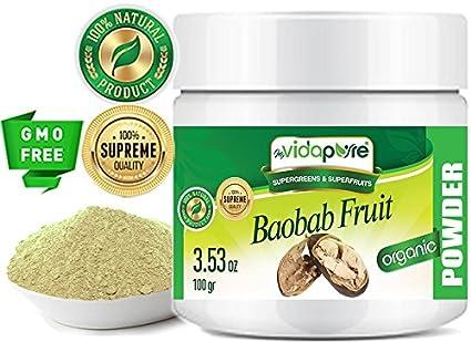Polvo de fruta orgánica Baobab RAW 100% Pure SUPERFOOD Suplemento dietético es rico en antioxidantes