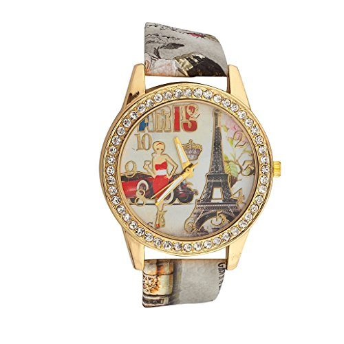 Lux Accessories Eiffel Tower Woman Car Queen Paris France Pave Bracelet Analog Sports Quartz Wrist Watch