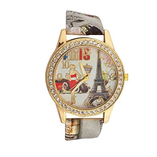 [Lux Accessories Eiffel Tower Woman Car Queen Paris France Pave Bracelet Analog Sports Quartz Wrist] (France Costume For Girls)