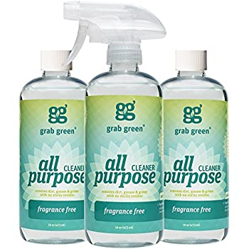 Grab Green NaturalAll Purpose Cleaner Spray, Biodegradable Residue & Streak-Free Finish, Fragrance Free, 16 Ounce Bottle (3-Pack)
