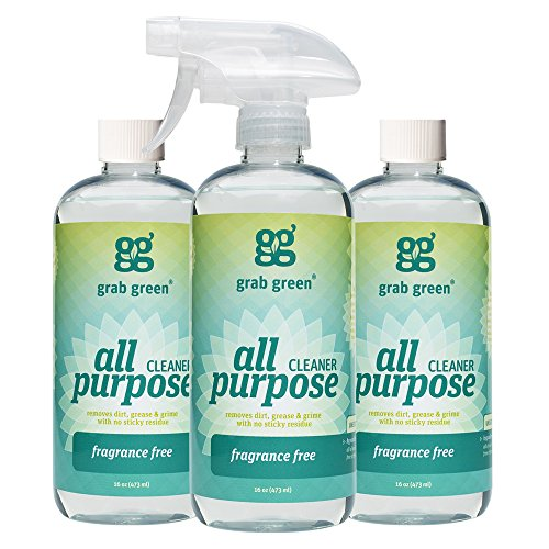Grab Green Naturally-Derived, Biodegradable All Purpose Cleaner, Residue & Streak-Free Finish, Fragrance Free, 16 Ounce Bottle (3-Pack)