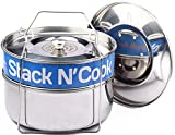 Stack N' Cook - Stackable Stainless Steel Pressure Cooker Steamer Insert Pans with Sling - Instant Pot in Pot Accessories - Food Steamer for Cooking - Two Interchangeable Lids Included