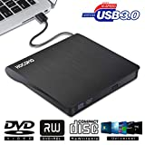 External DVD Drive for Laptop - USB 3.0 Portable Slim Burner Suitable for Compact Disc CD-R/DVD+R/DVD-R/DVD+R DL and Rewritable Disc CD-RW/DVD-RW/DVD+RW(Black)