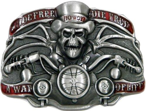 Pewter Biker Belt Buckle (Ride Free Die Free A Way Of Life Die Cast Pewter Finish Belt)
