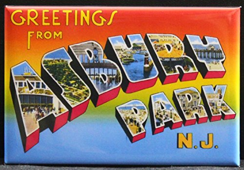 - Greetings From Asbury Park Vintage Postcard Refrigerator Magnet. New Jersey