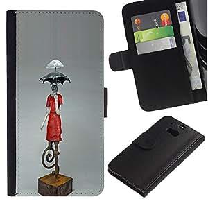 KLONGSHOP / Tirón de la caja Cartera de cuero con ranuras para tarjetas - Umbrella Statue Climate Change Art Modern - HTC One M8