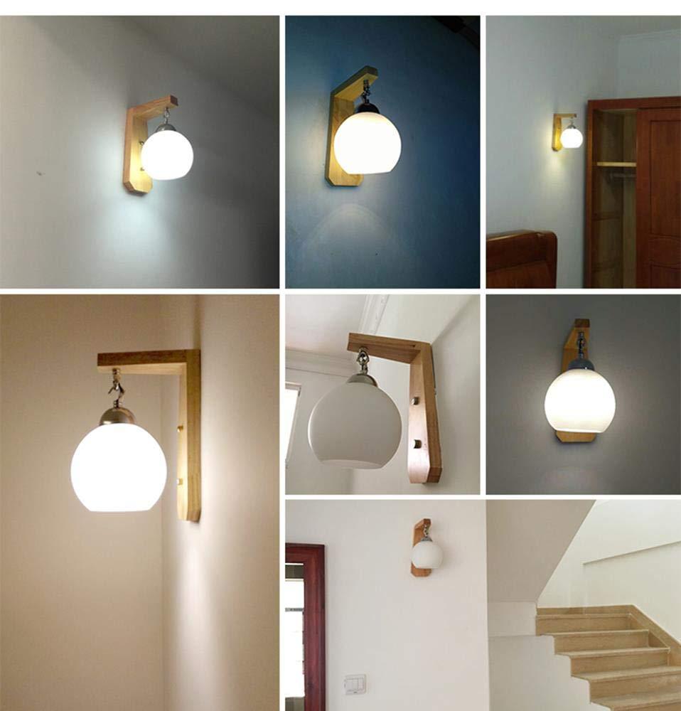 Amazon.com: Wall Lighting, Iron Body Rubber Wood Lamp Holder ...