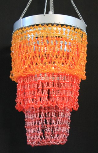 Orange Chandelier Beaded Light Hanging Lamp HLL09-RED