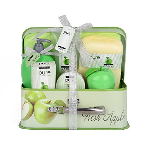 Deluxe Christmas Gift Basket - Pure Deluxe Spa Gift Basket- Hydrating Apple & Shea Butter Skin Therapy Kit Luxury Gift Basket - Bath Set Spa Baskets make Best Birthday Gifts for Women! Gift Baskets for Women & Holiday Gifts