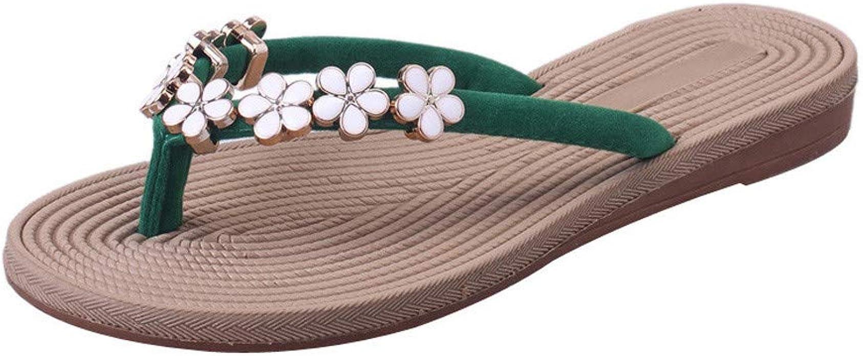 Alwayswin Damen Zehentrenner Böhmen Blumen Sommer Sandalen Flip Flops Badeschuhe Strandschuhe Frauen Elegant Slippers Outdoor Hausschuhe Schuhe Handtaschen