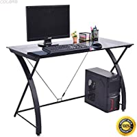 COLIBROX--Tempered Glass Computer Desk PC Laptop Study Workstation Home Office Furniture,computer desk with hutch for home,office depot computer desks,home depot computer desk,computer desk for sale