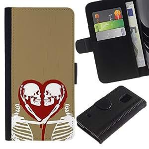 LASTONE PHONE CASE / Lujo Billetera de Cuero Caso del tirón Titular de la tarjeta Flip Carcasa Funda para Samsung Galaxy S5 V SM-G900 / Heart Love Skeleton Gold Red White
