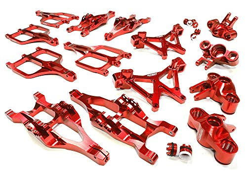 (Integy RC Model Hop-ups C25958RED Billet Machined Suspension Set for Traxxas 1/10 T-Maxx/E-Maxx 3903/5/8, 4907/8)