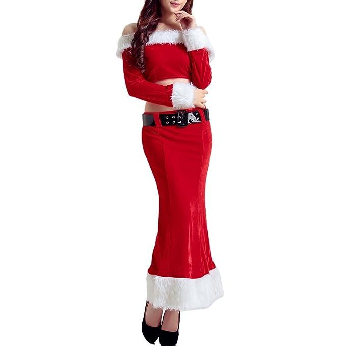 LADIES MISS SANTA DRESS COSTUME VELOUR MRS CLAUS CHRISTMAS XMAS FANCY DRESS