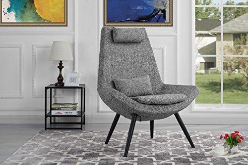 Modern Contemporary Linen Fabric Living Room Accent Chair (Light Grey)