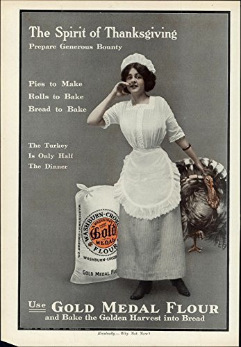- Gold Medal Flour Thanksgiving Turkey woman cook 1911 vintage newsprint paper