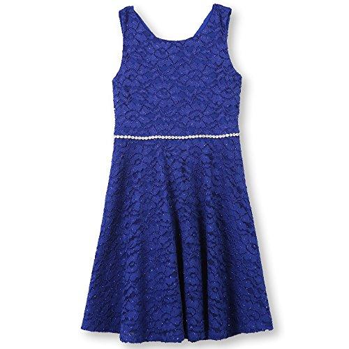 Speechless Girls' Big 7-16 Tween Allover Lace Skater Dress, Royal Blue, -