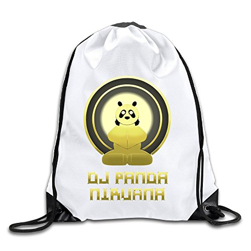 awing DJ Panda Nirvana Logo Drawstring Backpacks/Bags (Hurley Canvas Backpack)