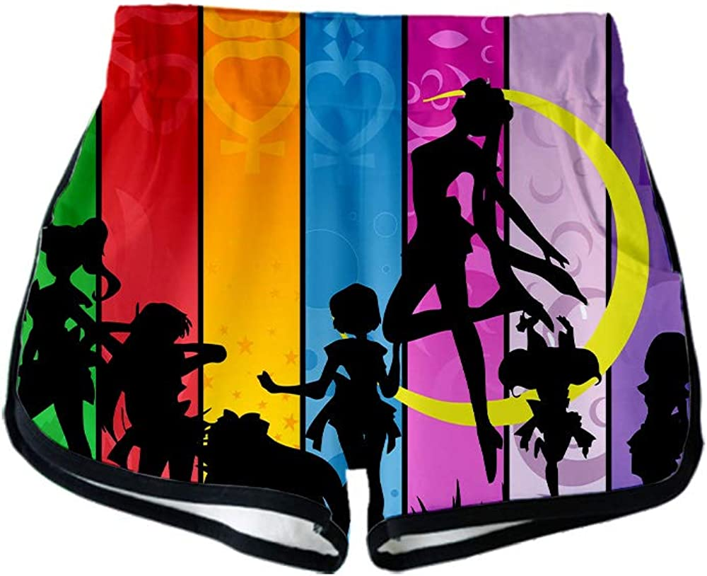 Unisex Anime Sailor Moon L/ässiges Kurzarm-T-Shirt mit rundem Kragen Kurze Hose 2 St/ück//Set