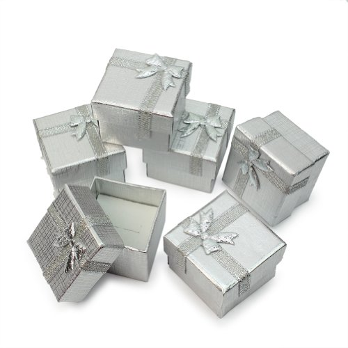 Bulk Lot 24Pcs Silver Square Jewelry Ring Gift Cardboard Box Present Case Holder -