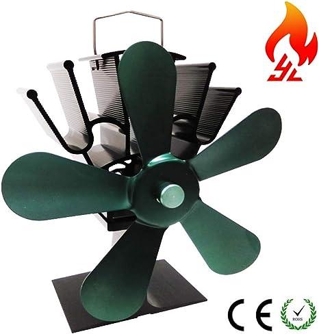 CSPFAIZZ Ventilador de Estufa 5 Aspas Calor Powered Horno para ...